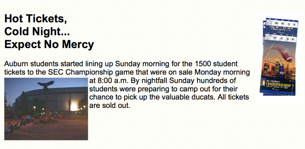 Students camp out SEC CHAMPIONSHIP tickets 1997